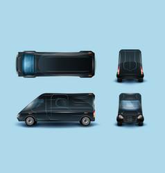 innovative commercial van realistic set vector image
