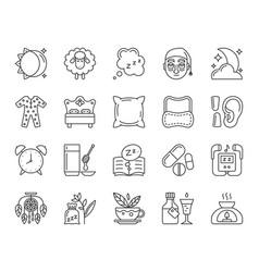 Insomnia simple black line icons set vector