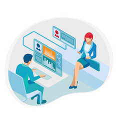 isometric financial consultation or business vector image