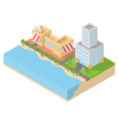 Isometric restaurant cafe and office on the beach vector