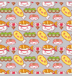 japanese gastronomy background kawaii cartoons vector image