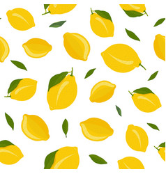 lemon fruits seamless pattern with leaves on vector image