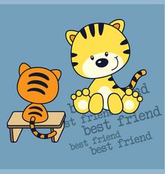 little kitten and friend cartoon vector image