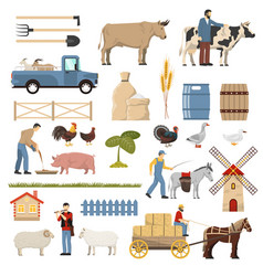 Livestock farm elements collection vector