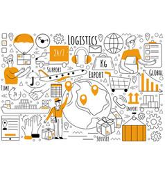 logistics doodle set vector image