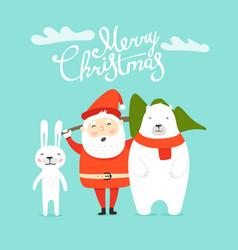 merry christmas greeting card with santa and vector image