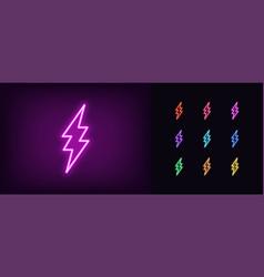 neon lightning icon glowing neon electric flash vector image