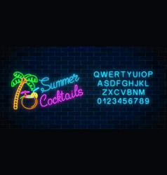 neon summer cocktail bar sign with alphabet vector image