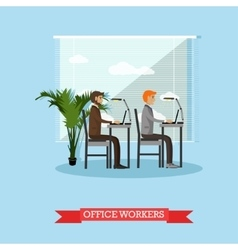 Office workers and business people work with vector image