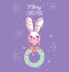 rabbit with lights and garland snow merry vector image