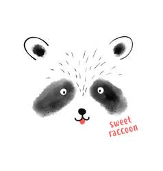 Raccoon print design with slogan vector