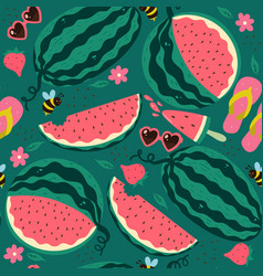 seamless pattern with watermelons on a green vector image