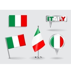 set italian pin icon and map pointer flags vector image
