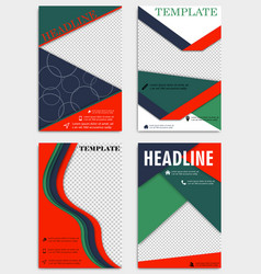 Set of annual report brochures flyers design vector