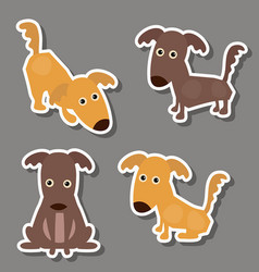 Set of cute dogs stickers set of cute dogs vector