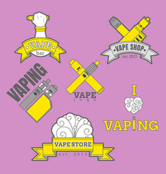 Set of different vaping logotypes colored on vector