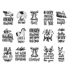 Set of hand written christmas phrases hand vector