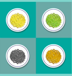 set only noodle on plate in flat style vector image