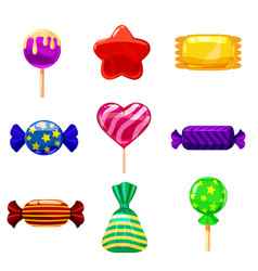 Set single cartoon candies lollipop candy vector
