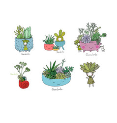 set with cute cartoon succulents vector image