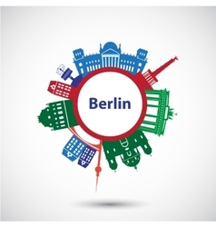 silhouette berlin vector image