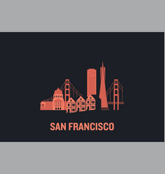 skyline san francisco flat vector image