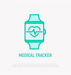 Smart watch with heartbeat thin line icon vector