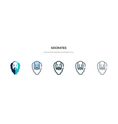Socrates icon in different style two colored vector