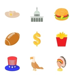 Stay in USA icons set cartoon style vector image