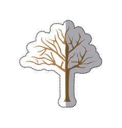 sticker brown silhouette tree with branches vector image