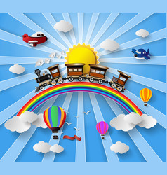 sunlight on cloud with transport and vehicles vector image