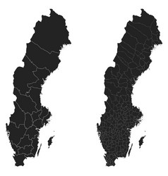 Sweden map with regional division vector
