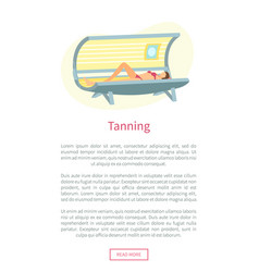 Tanning web poster with woman lying in solarium vector