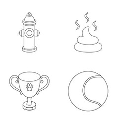 Tennis ball game hydrant fire cup fecesdog vector