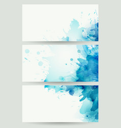 three banners abstract headers with blue blots vector image