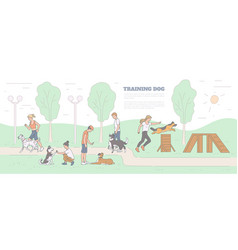 Training dog with pets and trainers on playground vector