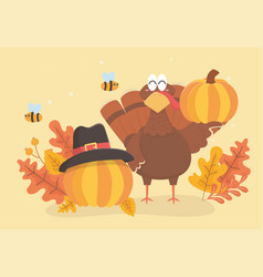 turkey and pumpkins with pilgrim hat bee and vector image