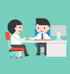 Two businessman consult at office desk flat vector