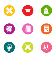 Valuable knowledge icons set flat style vector
