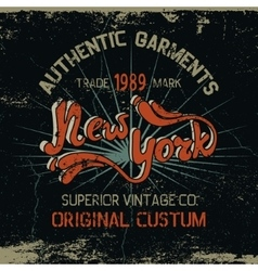 Vintage label with New York City design vector