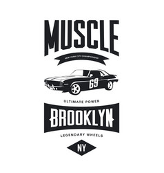 vintage muscle car tee-shirt logo vector image