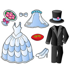 wedding clothes collection vector image