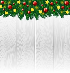 White wooden christmas background vector image