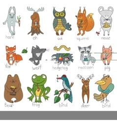 Wild animalsisolated Woodland doodle set vector