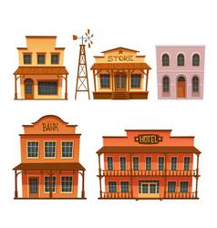wild west buildings set cowboy style design vector image