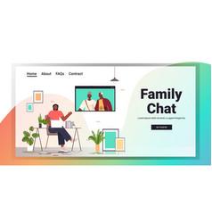 woman having virtual meeting with senior parents vector image