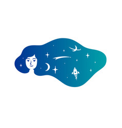 woman with hair in form a space cloud vector image