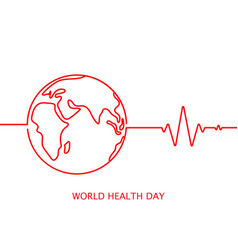 world health day icon with cardiogram in vector image