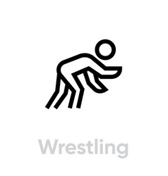 wrestling sport icons vector image