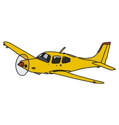 Yellow propeller airplane vector
